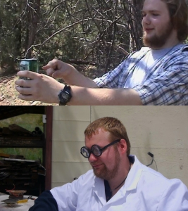 Top - Matt as the Mt. Dew Monster, who says the meaning of life is soda; Bottom - Matt as Dr. Lawrence, who says the meaning of life is watering your flowers.