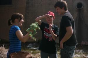 Our first morning's cast: Aspen, Alex & Garett